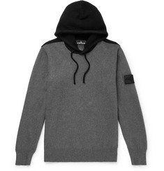 Stone Island Shadow Project - Logo-Appliquéd Two-Tone Knitted Hoodie
