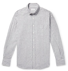Incotex Button-Down Collar Striped Cotton and Linen-Blend Shirt