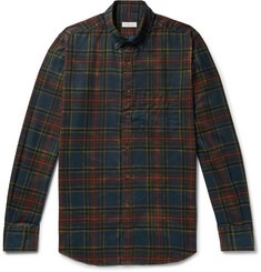 Incotex Button-Down Collar Checked Brushed-Cotton Shirt