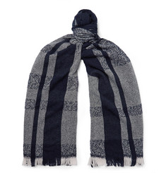 Incotex Fringed Checked Virgin Wool-Blend Scarf