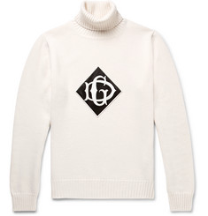 Dolce & Gabbana Logo-Appliquéd Wool Rollneck Sweater