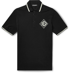 Dolce & Gabbana Logo-Appliquéd Cotton-Piqué Polo Shirt