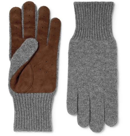 Brunello Cucinelli Gloves SUEDE-PANELLED CASHMERE GLOVES - GRAY