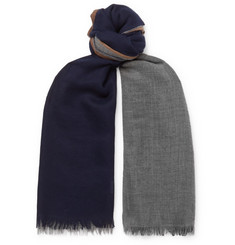 Brunello Cucinelli - Colour-Block Cashmere and Silk-Blend Scarf
