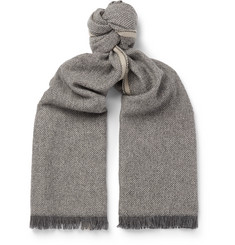 Fringed Houndstooth Cashmere Scarf - Dark gray