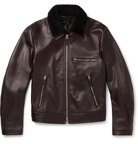 Slim Fit Shearling Trimmed Full Grain Leather Jacket by Tom Ford