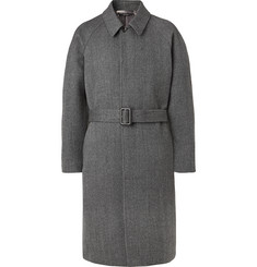 TOM FORD Belted Herringbone Wool Overcoat