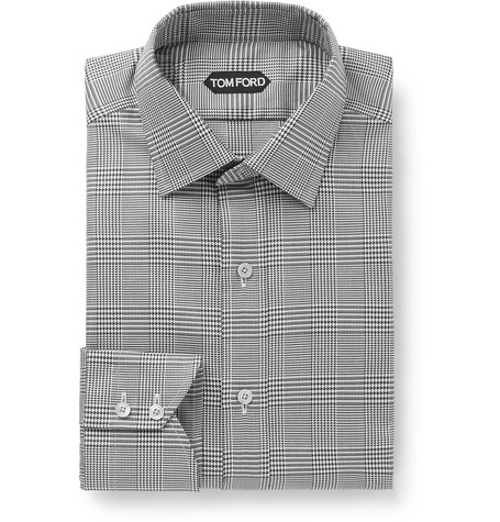 Black Prince Of Wales Checked Cotton Poplin Shirt by Tom Ford