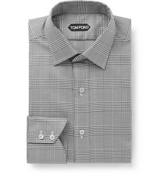 TOM FORD Black Prince of Wales Checked Cotton-Poplin Shirt