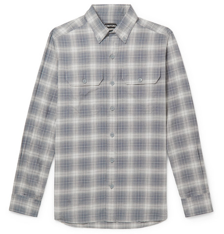 Tom Ford T-shirts SLIM-FIT BUTTON-DOWN COLLAR CHECKED COTTON SHIRT