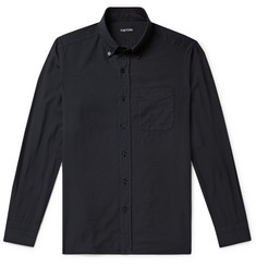TOM FORD Slim-Fit Button-Down Collar Cotton and Cashmere-Blend Shirt