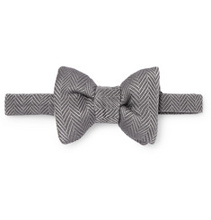 TOM FORD Pre-Tied Herringbone Silk and Cotton-Blend Bow Tie