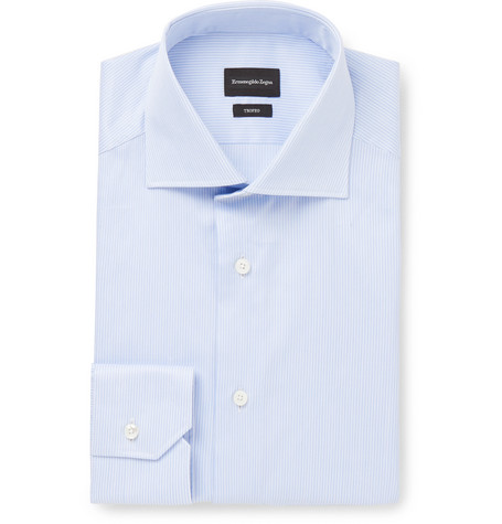 Ermenegildo Zegna Light-Blue Striped Cotton-Poplin Shirt