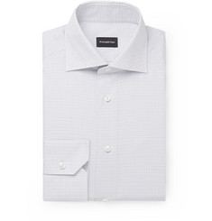 Ermenegildo Zegna White Cutaway-Collar Checked Cotton Shirt
