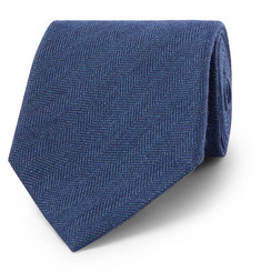 Ermenegildo Zegna Herringbone Silk, Wool and Cashmere-Blend Tie