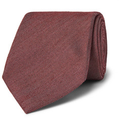 Ermenegildo Zegna 8cm Silk, Wool and Cashmere-Blend Herringbone Tie