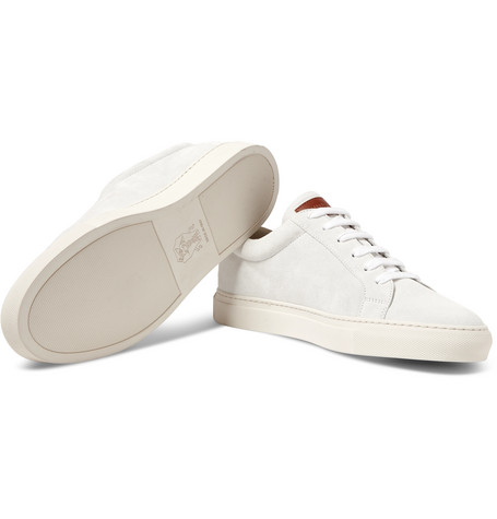 Brunello Cucinelli Leather-Trimmed Brushed-Suede Sneakers In White
