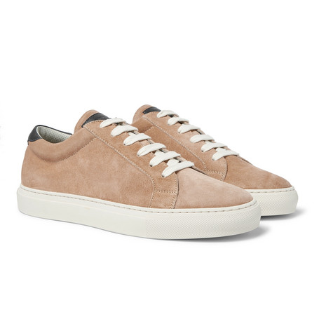 Brunello Cucinelli Leather-Trimmed Brushed-Suede Sneakers In Neutrals