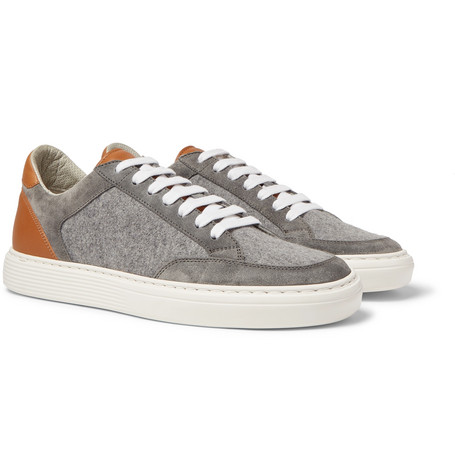 Leather, Suede And Flannel Sneakers - Light gray