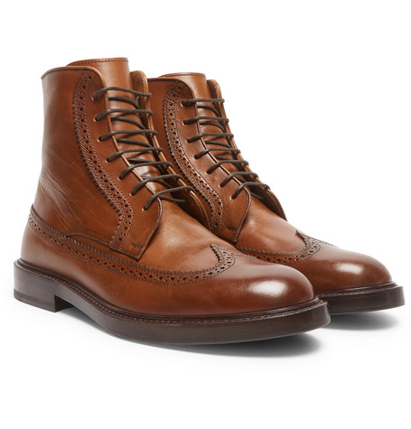 Leather Brogue Boots - Brown