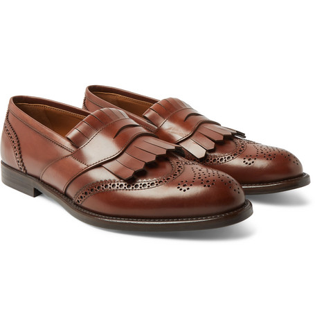 Brogue-detailed Leather Kiltie Loafers - Brown