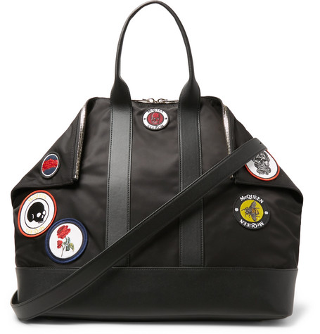 Alexander McQueen De Manta Leather-Trimmed Logo-Appliquéd Shell Tote Bag