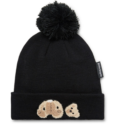 Palm Angels Hats APPLIQUÉD WOOL BEANIE
