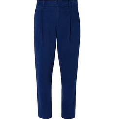 Mr P. Tapered Pleated Cotton-Blend Moleskin Suit Trousers