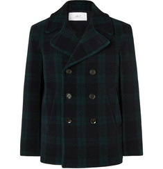 Mr P. Double-Breasted Checked Wool-Blend Peacoat