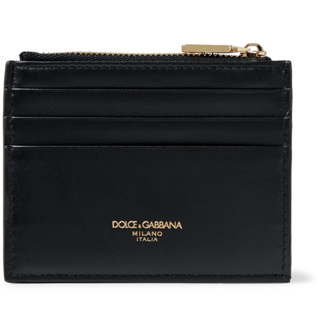 Dolce & Gabbana Logo-Print Leather Zipped Cardholder