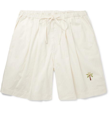 Story Mfg. Wide-Leg Embroidered Organic Cotton Drawstring Shorts