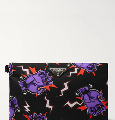 Prada Saffiano Leather-Trimmed Printed Nylon Pouch