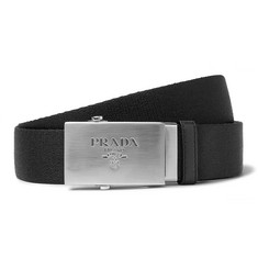 Prada 3.5cm Black Saffiano Leather-Trimmed Webbing Belt