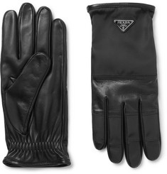 Prada - Logo-Detailed Cashmere-Lined Leather and Nylon Gloves