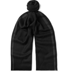Brioni Logo-Embroidered Striped Herringbone Wool Scarf