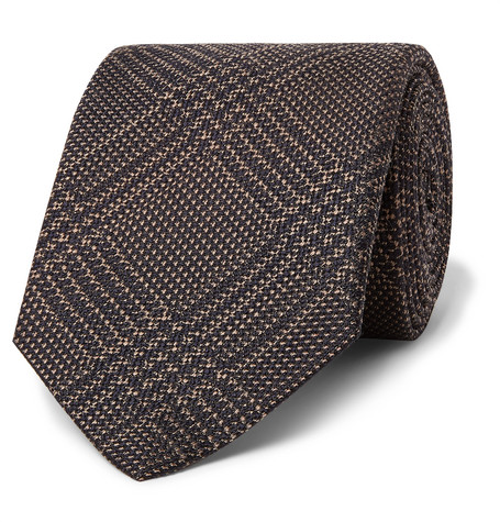 Brioni 8cm Prince of Wales Checked Silk and Virgin Wool-Blend Tie