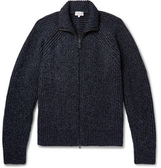 Brioni Leather-Trimmed Wool Zip-Up Cardigan