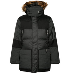The North Face V-Stok Faux Fur-Trimmed Quilted Canvas-Panelled Shell Hooded Down Parka
