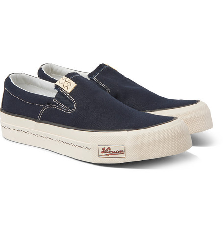 Skagway Leather Trimmed Canvas Slip On Sneakers by Visvim