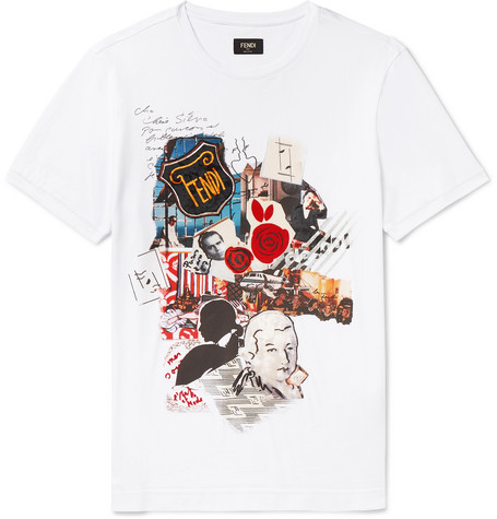 Fendi T-shirts SLIM-FIT FLOCKED COTTON-JERSEY T-SHIRT