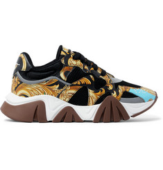 Versace Squalo Printed Leather and Mesh Sneakers