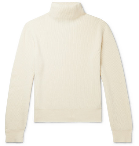 The Row Sweaters DANIEL RIBBED CASHMERE MOCK-NECK SWEATER
