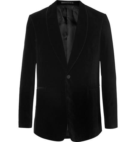 The Row Coats BLACK ARCHER SLIM-FIT SHAWL-COLLAR COTTON-VELVET TUXEDO JACKET