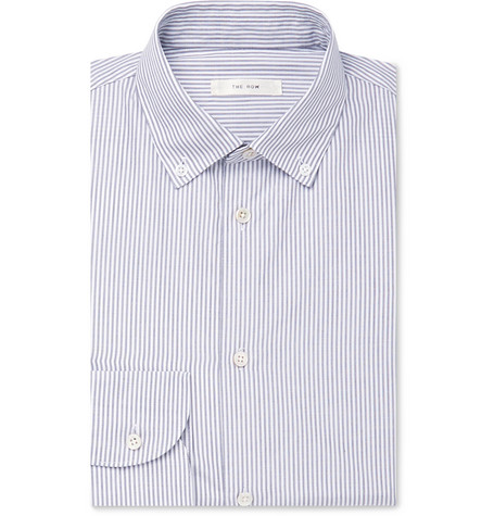The Row T-shirts WHITE ROBERT BUTTON-DOWN COLLAR PINSTRIPED COTTON SHIRT