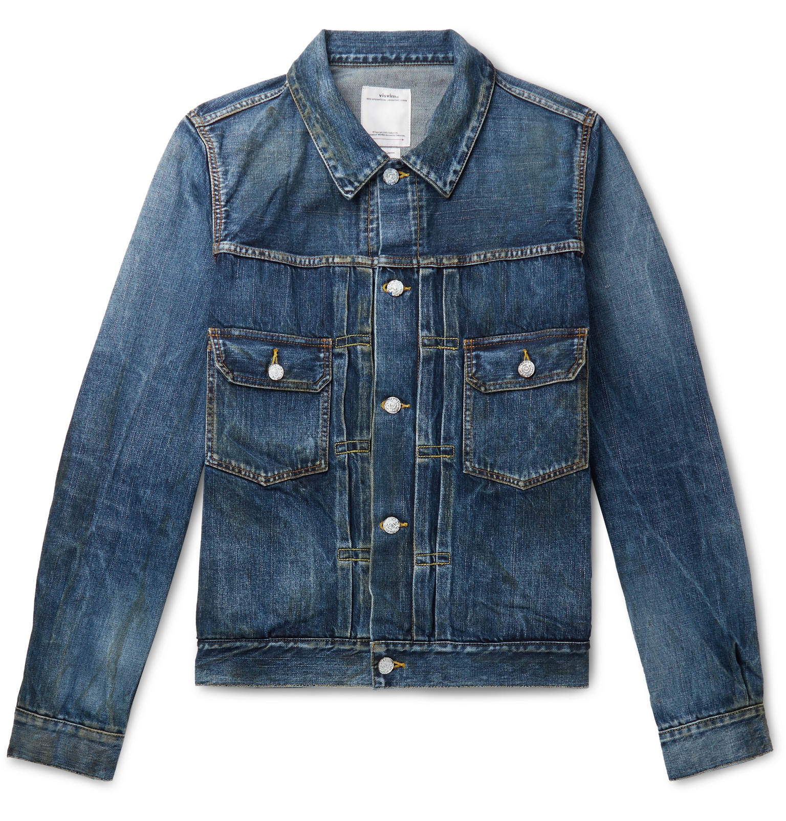 promo codes new products for lower price with visvim - Social Sculpture 1000 Dry Damaged Denim Jacket