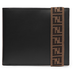 Fendi Logo-Jacquard Stretch Webbing-Trimmed Leather Billfold Wallet
