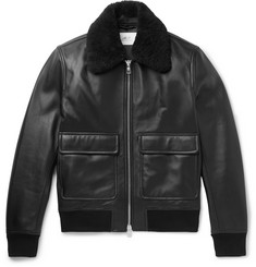 Mr P. - Shearling-Trimmed Leather Bomber Jacket