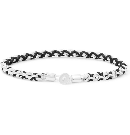 Miansai Nexus Rhodium-Plated and Cord Bracelet