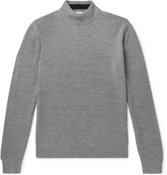 Mr P. - Slim-Fit Mélange Merino Wool-Piqué Rollneck Sweater