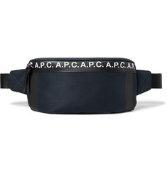 A.P.C. Savile Logo-Print Tape-Trimmed Tech-Canvas Belt Bag